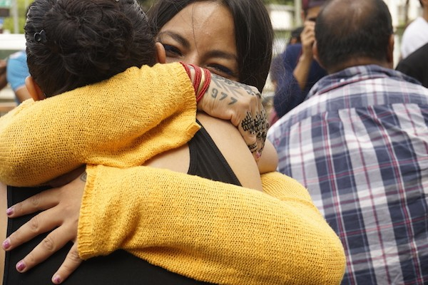 An embrace at Chant Down the Walls, an undocumented students rally in downtown Los Angeles in 2016.