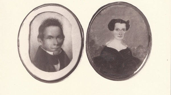 Locket images of Elias Boudinot and Harriett Gold, circa 1826.
