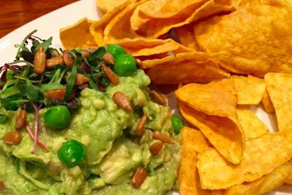 Guacamole with peas from Veggie Grill.