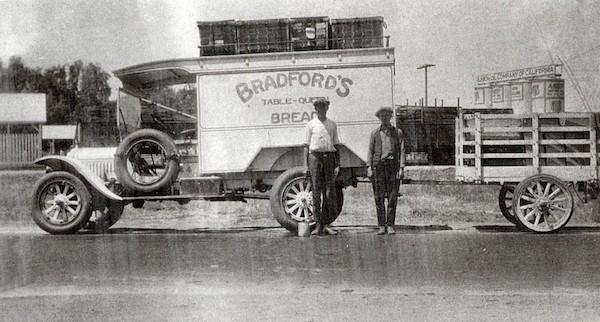 Bradford's Bread Truck, Irvine Ranch, circa 1920.