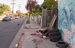 Trash on sidewalk near 103rd Street in Watts with chicken crossing road.