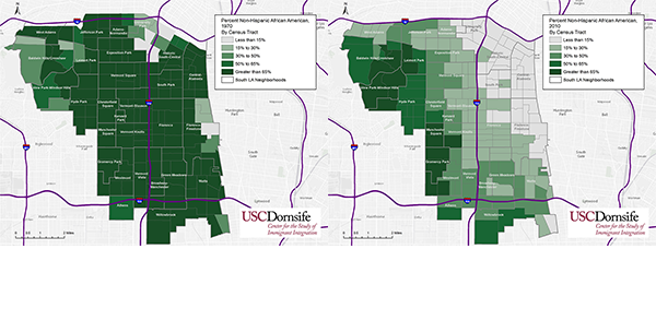 Non-Hispanic Black population in South L.A. in 1970 (left) and 2010 (right).Source: U.S. Census Bureau, Geolytics Inc.