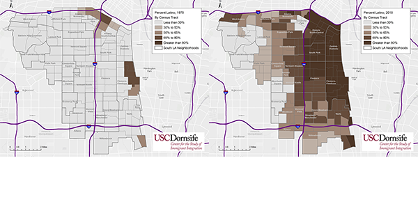 Latino population in South L.A. in 1970 (left) and 2010 (right). Source: U.S. Census Bureau, Geolytics Inc.