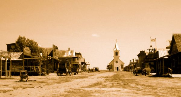 Prop western town used in Dances With Wolves (1991).