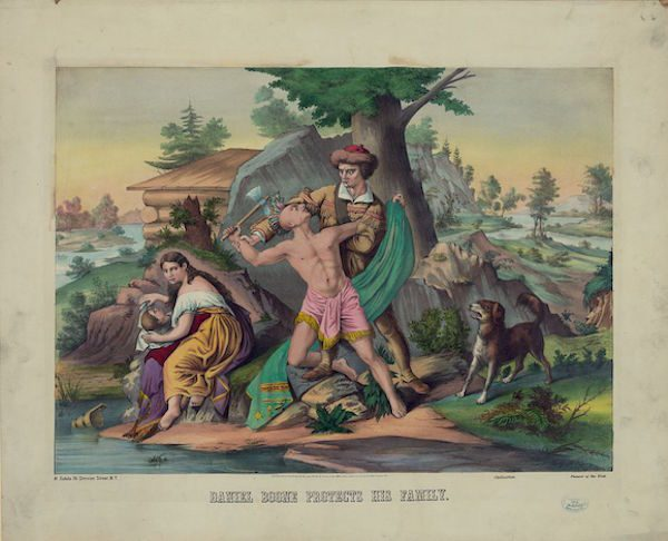 "An 1874 lithograph titled ""Daniel Boone Protects His Family."""