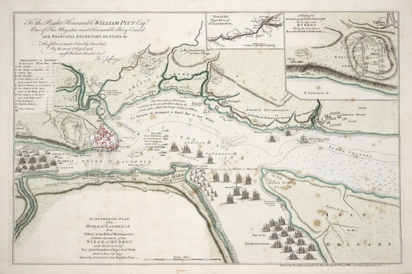 A military plan shows frontline positions of the British and French during the Battle of the Plains of Abraham on Sept. 13, 1759.
