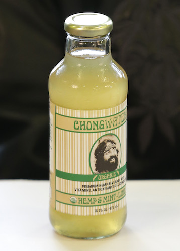 "A bottle of ""Chongwater,"" a flavored hemp drink marketed by comedian and marijuana icon Tommy Chong."