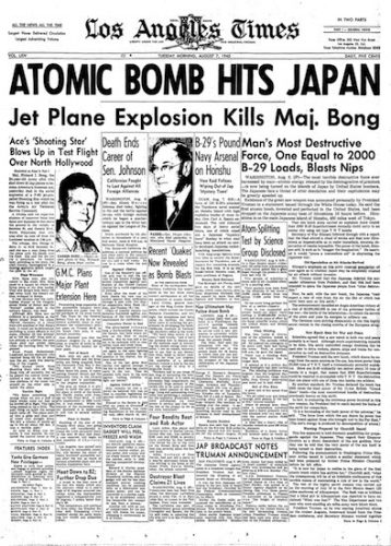 The front page of the Los Angeles Times, Aug. 7, 1945.