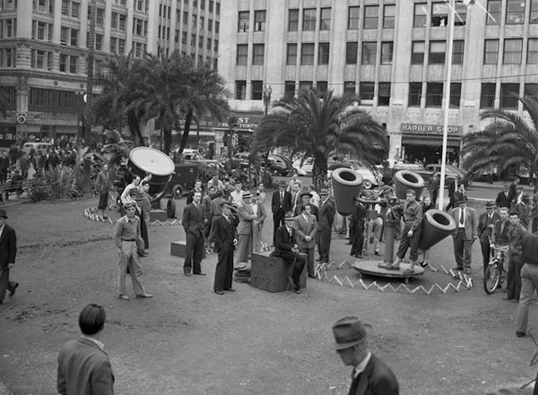 Listening post and air raid lights positioned in Pershing Square, Los Angeles, 1941.