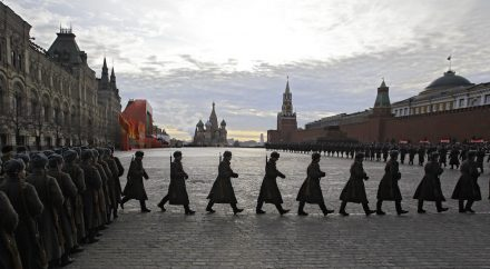 Russian soldiers dressed in Red Army World War II uniform parade in Red Square in Moscow, Russia, Monday, Nov. 7, 2011. Thousands of Russian soldiers and military cadets have marched across Red Square to mark the 70th anniversary of a historic World War II parade.The show honored the participants of the Nov. 7 1941 parade who then headed directly to the front to defend Moscow from the Nazi forces. The parade Monday involved about 6,000 people, many of them dressed in World War II-era uniforms.(AP Photo/Sergey Ponomarev)