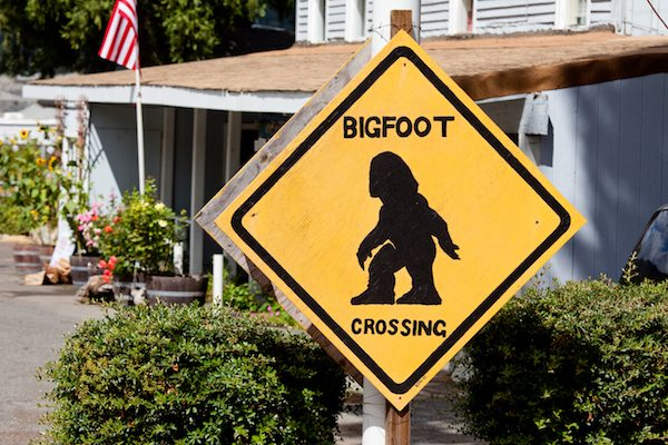 A road sign in Humboldt County, CA, home to the world's unofficial Bigfoot capital.