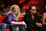 """Ice-T, right, and Lisa Lampanelli sit onstage during the """"Comedy Central Roast of Flavor Flav"""" in Burbank, Calif. on Sunday, July 22, 2007. (AP Photo/Matt Sayles)"""