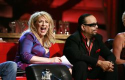 "Ice-T, right, and Lisa Lampanelli sit onstage during the ""Comedy Central Roast of Flavor Flav"" in Burbank, Calif. on Sunday, July 22, 2007. (AP Photo/Matt Sayles)"