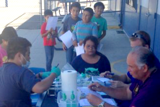 Victoria Elementary School students receive dental check-ups.
