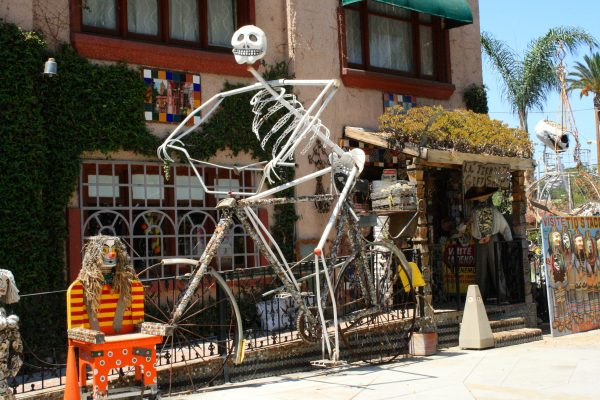 A bike-riding skeleton by Martin Sanchez.
