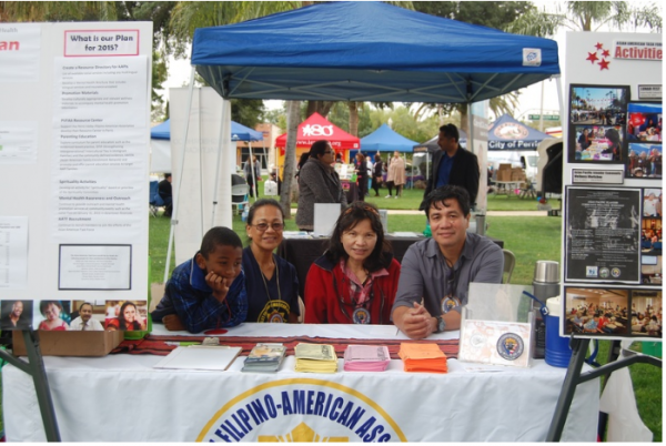 The Perris Valley Filipino-American Association's booth at a community health fair.