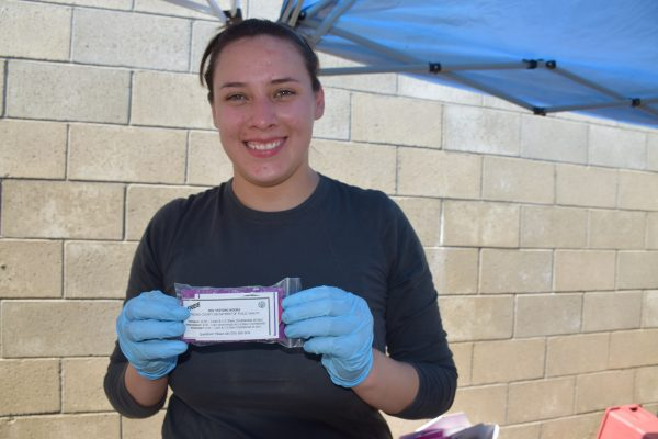 Catalina Bautista is an employee at the Fresno County Department of Public Health. She started volunteering after she helped a reporter get in touch with the exchange and read the article. The packets of condoms contain information about HIV, HEPC, and syphilis testing as well as a suicide hotline number.