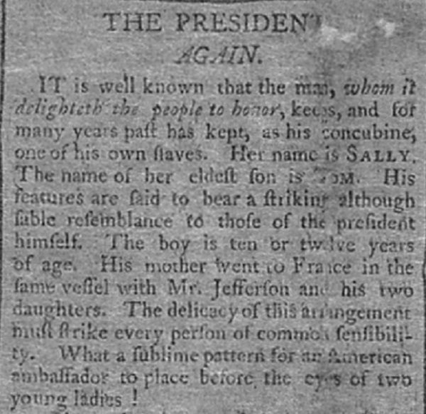 """The President, Again"" published on September 1, 1802. By James Thomson Callender."