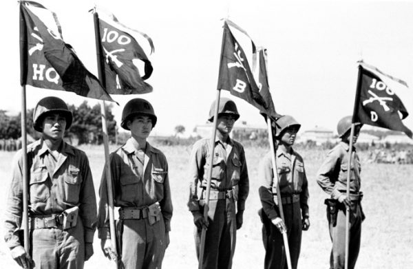 Members of the U.S. 100th Infantry Battalion, 442nd Regiment in Italy in July 1944.