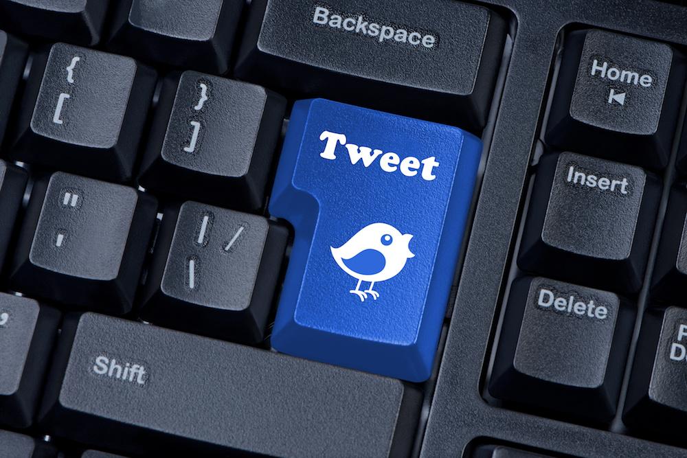 Button keypad with tweet and bird closeup.
