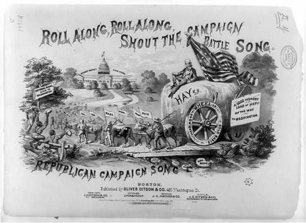 An illustrated sheet music cover for a song composed in honor of Republican presidential candidate Rutherford B. Hayes, 1876.
