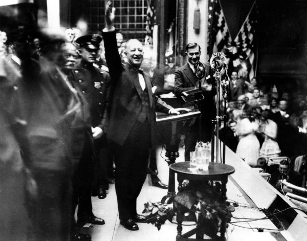 New York Gov. Alfred E. Smith, nearing the close of his campaign for president, addresses supporters in a packed house at the Academy of Music in Brooklyn, N.Y., Nov. 3, 1928.