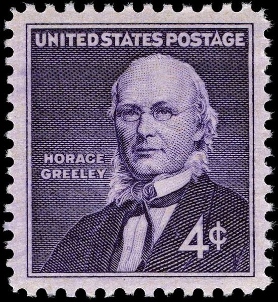 Horace Greeley honored on a 1961 U.S. postage stamp.