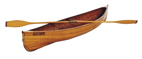 A William English canoe, made in the 19th century near Peterborough, Ontario. It is among the first all-wood canoes made in a strip form.