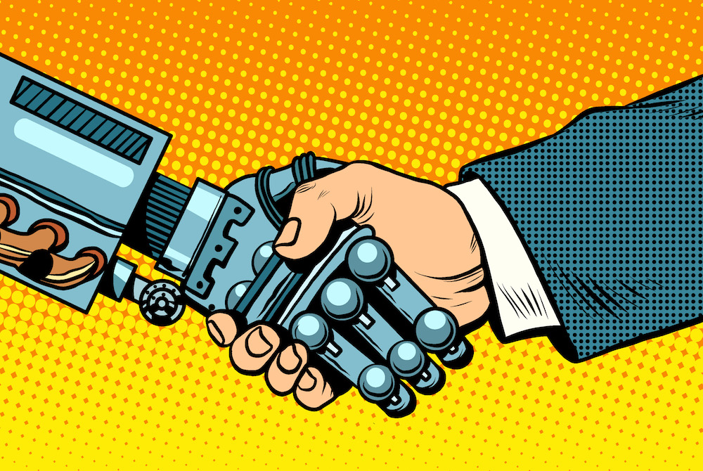 Handshake of robot and man. New technologies and evolution pop art retro style. Robotics. Computers and gadgets. E-business.