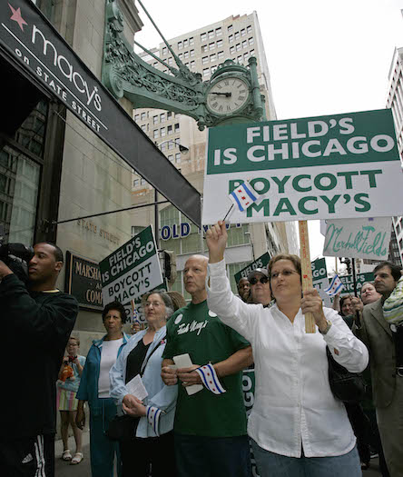 Protestors in front of the recently rebranded Macy's on Chicago's State Street, formerly Marshall Field's, in 2006.