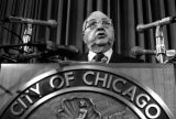 Former Chicago Mayor Richard J. Daley speaks during a news conference in Chicago in this undated photo. Under a federal Freedom of Information Act request, The Chicago Tribune obtained 300 pages of Daley's file compiled by J. Edgar Hoover's FBI. The reports span Daley's career from state senator in the 1940s until his death in 1976.   (AP Photo)