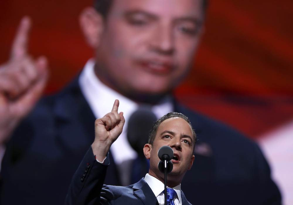 Reince Priebus, Chairman of the Republican National Committee, speaks during the final day of the Republican National Convention in Cleveland, Thursday, July 21, 2016. (AP Photo/Carolyn Kaster)