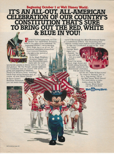 Promotional poster from Life Magazine for Disney World's 1987 celebration of the bicentennial of the U.S. Constitution.