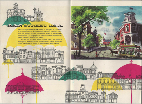 """The pocket map, """"The Story of Disneyland with a complete guide to Fantasyland, Tomorrowland, Adventureland, Frontierland, Main St. U.S.A."""" from 1955."""