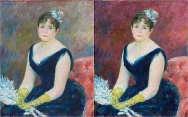 Renoir's 1883 portrait of  Madame Léon Clapisson and the digital recolorization. Art Institute of Chicago via the BBC.