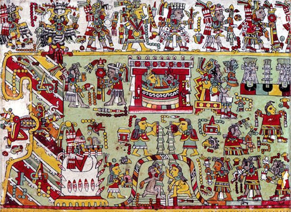 Detail from a page of the Codex Zouche-Nuttall, a pictographic history and genealogical record from Mixtec region of Mexico between 1200-1521 A.C. The British Museum.