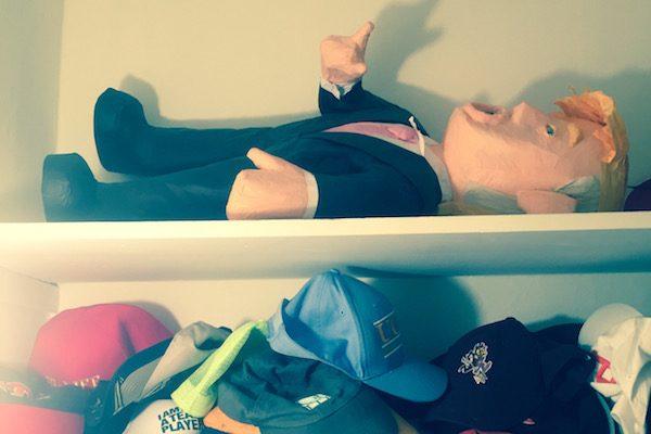 Joe Mathews' Donald Trump piñata, stored in his closet. Courtesy of Joe Mathews.