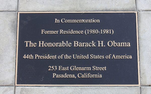 A plaque is seen in front of the Pasadena residence where Barack Obama lived during his sophomore year at Occidental College. Photo by John Antczak/Associated Press.
