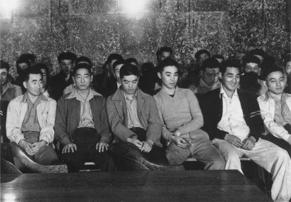 The first day of the trial of the 63 Heart Mountain draft resisters in Federal District Court, Cheyenne, Wyoming, June 12, 1944. Courtesy of Frank Abe.