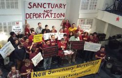 Activists working with the New Sanctuary Movement, which shields undocumented immigrants in the U.S. Photo courtesy of Linda Rabben.