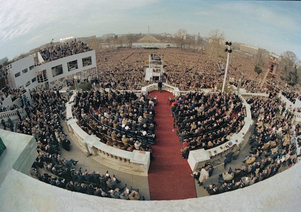 A wide angle view from the Capitol balcony as President Ronald Reagan, visible at center, addresses the nation following his swearing-in ceremony in Washington.  Courtesy of Associated Press.
