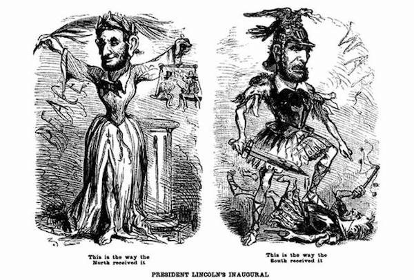 Thomas Nast's cartoon, published in the New York Illustrated News, March 23, 1861, captured how different audiences received Lincoln's address. Courtesy of the Smithsonian.