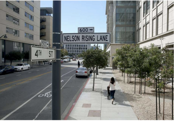 View of Nelson Rising Lane street sign at 4th Street in San Francisco. Photo by Liz Hafalia/The San Francisco Chronicle.
