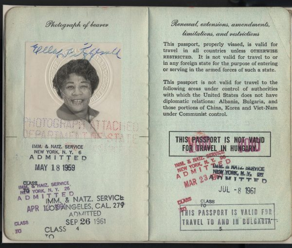 Passport issued to Ella Fitzgerald, 1959.  Courtesy of National Museum of American History.