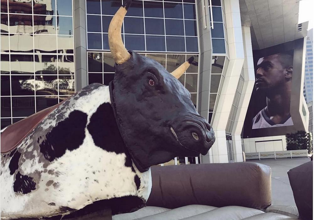 A mechanical bull sits outside Golden 1 Center in Sacramento, California. Photo courtesy of Golden 1 Center.