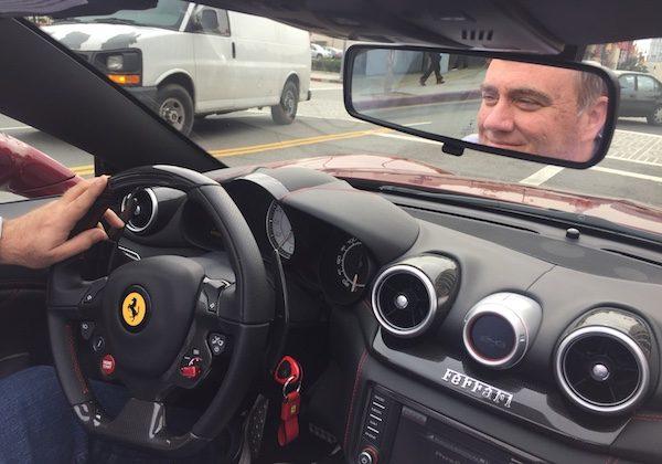 Joe Mathews driving a Ferrari California T. Photo by Louis Wheatley.