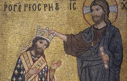 Roger II being crowned by Christ. Byzantine mosaic, La Martorana Church from the Norman period, Palermo, Sicily, Italy.