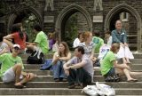 Prospective students and their parents eat lunch and talk following a tour of campus at Duke University in Durham, N.C. in 2006. Photo by Gerry Broome/Associated Press.