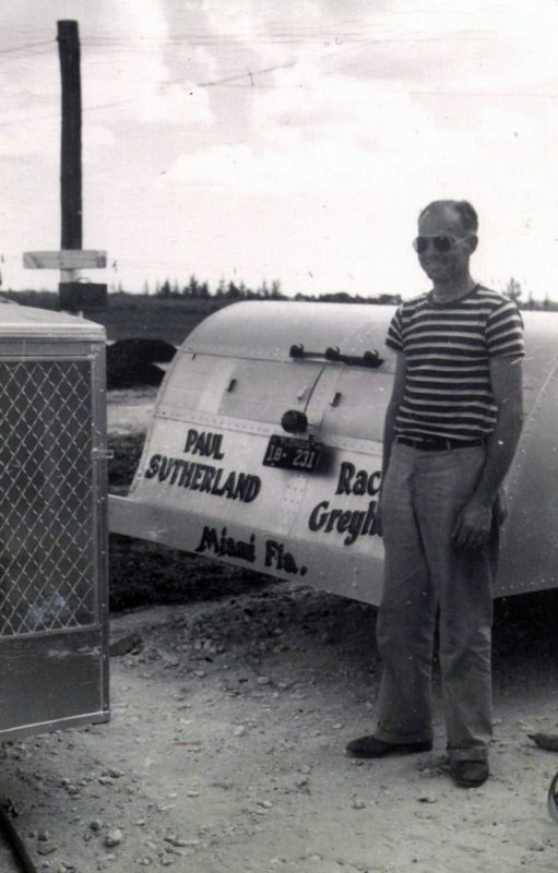 The author's father, Paul Sutherland, and the homemade trailer he made for his dogs. Photo courtesy of Claudette Sutherland.