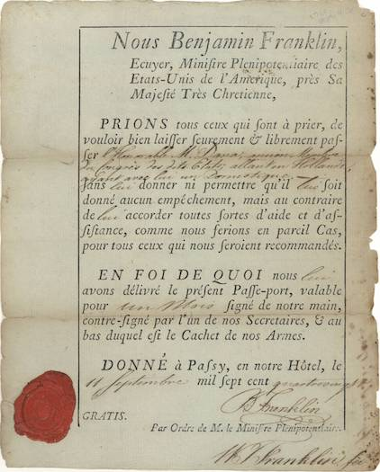 """""""Passe-port"""" issued to Francis Dana by Benjamin Franklin, 1780. Courtesy of Massachusetts Historical Society."""